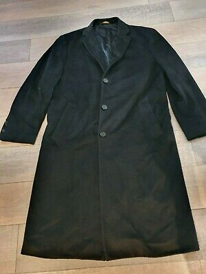 BROOKS BROTHERS Loro Piana Storm System 100% Wool Overcoat-Black Size 42R • 5.51£