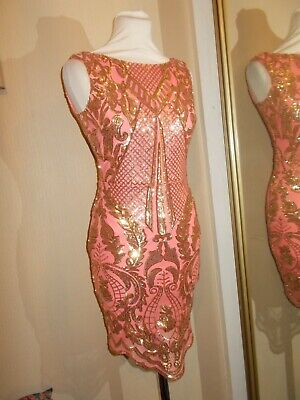 £11.99 • Buy Goddiva Embellished Sequin Bodycon Coral Pink Gold Dress Party 8 Mini WORN ONCE