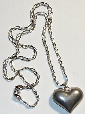 $ CDN6.41 • Buy EARLY Vintage STERLING SILVER Puffy HEART PENDANT On A STERLING CHAIN~LOT #1!