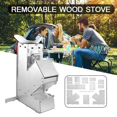 AU26.82 • Buy Outdoor Camping Wood Stove Folding Picnic Rocket Burner BBQ Cooking Stove W3M9