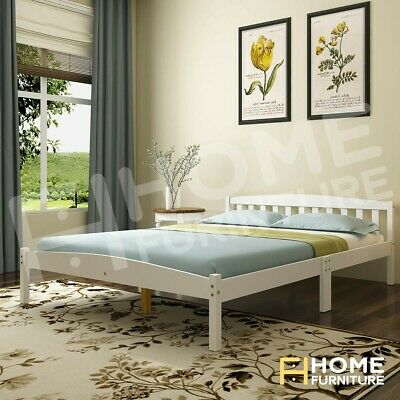 AU129.50 • Buy Double Bed Frame Base Mattress Platform Wooden Frame Bedroom Furniture White