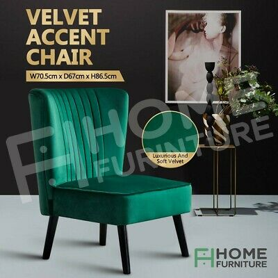 AU129.50 • Buy Armchair Accent Chair Lounge Single Sofa Dining Accent Chair Retro Velvet Green