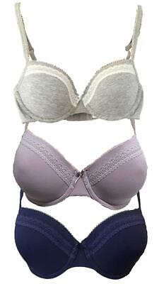 EX M&S Cotton Rich Padded Lace Trim Full Cup T-Shirt Bra • 7.95£