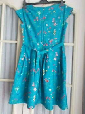 BEAUTIFUL   YUMI    TURQUOISE  FLORAL DRESS   Age 9-10 Yrs   N.W.O.T • 12£