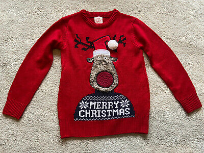 Christmas Jumper Boys 5-6 Years  Rudolph Reindeer With Santa Hat Pom Pom • 7.50£