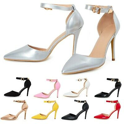 £16.99 • Buy New Womens Mens Ankle Strap Buckle Stiletto Heel Court Shoes Plus Sizes UK3-UK12
