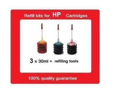 AU16.99 • Buy A Set Of Refill Kits For HP67 & HP67XL COlour Ink Cartridges