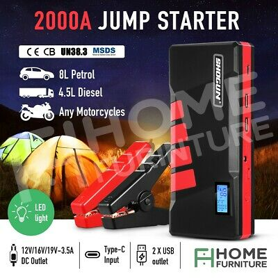 AU129.50 • Buy 2000A Portable Jump Starter Car Battery Charger Booster 12V Power Bank