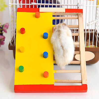 Hamster Wood Climbing Ladder Guinea Pig Non-slip Stair Exercise Toy Healthy • 5.20£