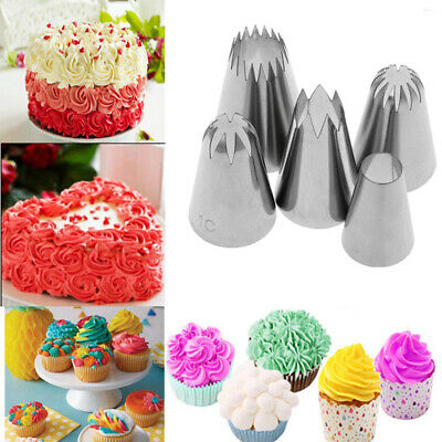 5Pcs/Set Large Cake Pastry Icing Pipping Nozzles Tip Kitchen Baking Decorating • 6.59£