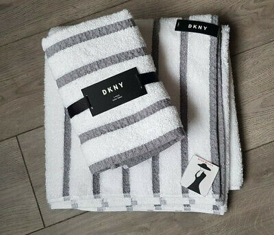 DKNY Set Of 3 White & Grey Stripe COTTON Towels Bath AND Hand Towel IDEAL GIFT  • 29.95£