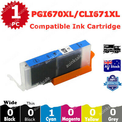 AU4.20 • Buy 1x Compatible Ink CLI 671 Cyan For Canon PIXMA TS5060 MG5760 MG5765