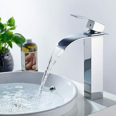 £28.39 • Buy Tall Waterfall Bathroom Taps Basin Mixer Tap Counter Top Brass Faucet Chrome NEW