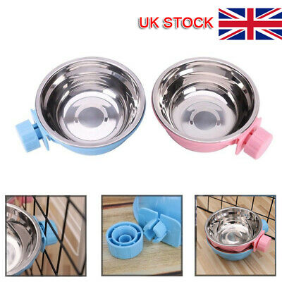 £5.90 • Buy For Pet Cat Dog Crate Cage Food Water Bowl Hang-on Bowl Metal Stainless Steel UK