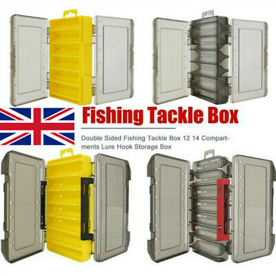 Double Sided Fishing Lure Bait Tackle Storage Box Plastic Box12/14 Compartment • 7.55£