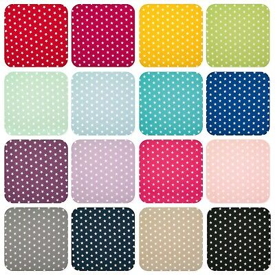 $6.01 • Buy 100% Cotton Fabric 10mm WHITE STAR ON VIBRANT COLOUR Material 145cm Wide