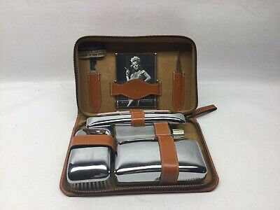 AU31.56 • Buy Vintage 1950s Progressive Travel Accessories Men's Leather Grooming Travel Kit