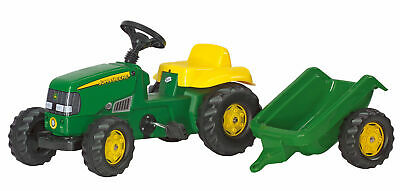 £89 • Buy ROLLYS KIDS JOHN DEERE TRACTOR WITH TRAILER Pedal Childrens Toy 01219