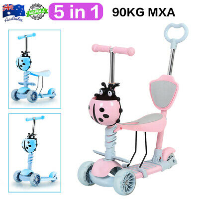 AU39.99 • Buy 5 IN 1 Kid Scooter Baby Ride On Toy Push Brake Tricycle Adjustable Seat 3 Wheel