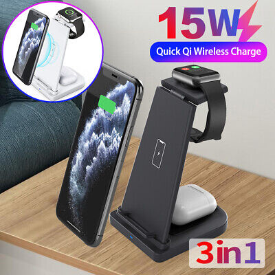 AU31.26 • Buy 3in1 15W Qi Fast Wireless Charger Dock Stand For IWatch IPhone 12 Pro 11 XS XR 8