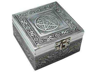 Engraved Silver Metal Square Jewellery Box With Pentagram  Witch/pagan/ Occult • 13.99£