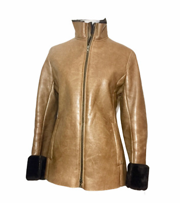 $300 • Buy New M0851 Tan Leather Faux Fur-lined Jacket - Rare