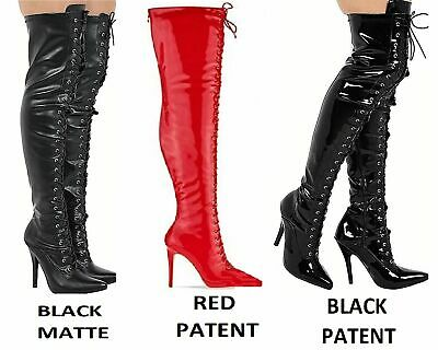 Ladies Thigh High Over The Knee Fetish Boots Front Lace Stiletto Heel Sizes 3-12 • 29.99£