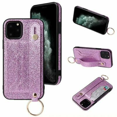 AU11.06 • Buy Glitter Credit Card Holder Leather Wristband Ring Phone Case Cover For IPhone 12