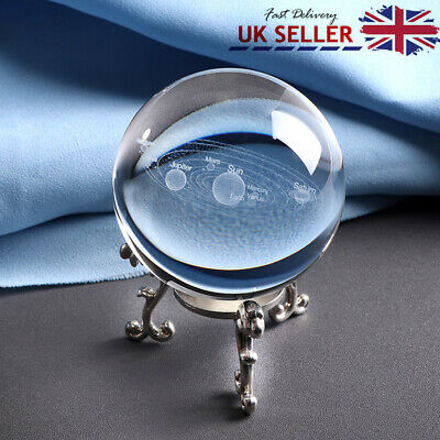 1PCS Clear Crystal Ball Magic Healing Meditate Sphere Photography With Stand UK • 13.19£