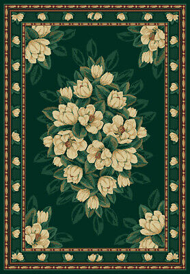 $59 • Buy GREEN Floral MAGNOLIA 6X8 Area Rug TRADITIONAL Country : Actual 5' 3  X 7' 6