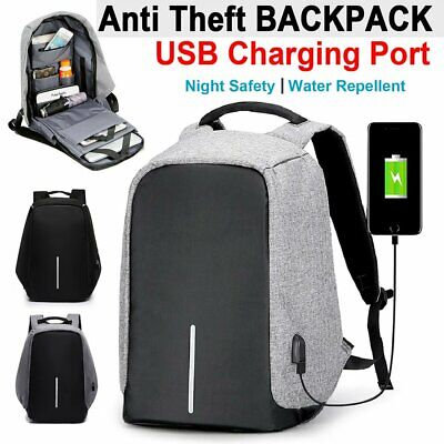 AU15.59 • Buy Anti-Theft Backpack Waterproof School Travel Laptop Bag With USB Charging Port