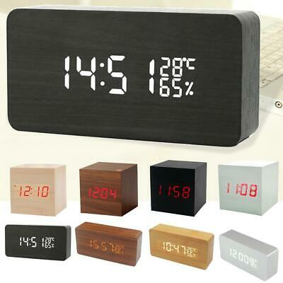 Modern Wooden Wood Digital LED Desk Alarm Clock Thermometer Timer Calendar FM • 15.32£