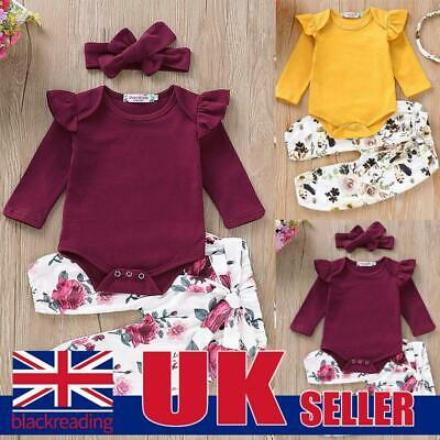 Newborn Baby Girls Playsuit Ruffle Romper Tops+Floral Pants+ Headband Set Outfit • 4.99£