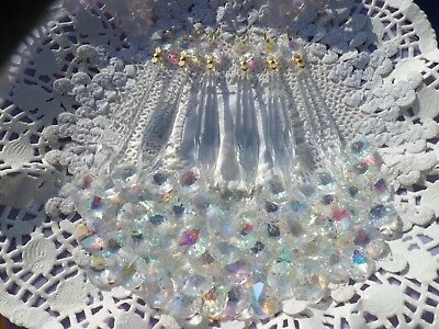 £17.95 • Buy Pretty IRIDESCENT Crystal & Glass Icicle Chandelier Drops X5 Spare Part ProjectS