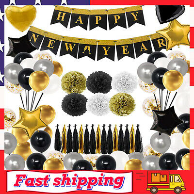 £15.19 • Buy New Years Eve Party Supplies 2020 Decorations Kit Gold White And Black Balloons