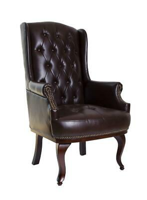 £275 • Buy Chesterfield Wing Back Queen Anne High Back Fireside Armchair Sofa Chair Leather