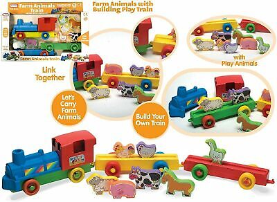 Push Along Build Your Own Farm Train Play Set With Animal Toy For Toddler Kids • 12.99£