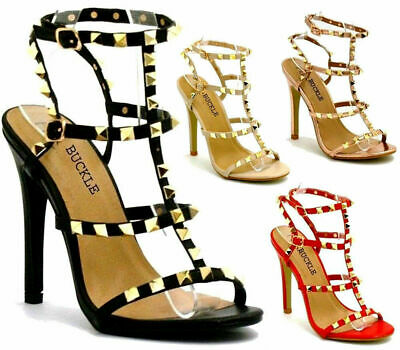 Womens Studded Ankle Strap High Heels Rivet Gladiators Pointy Sandals Shoe Sizes • 17.95£