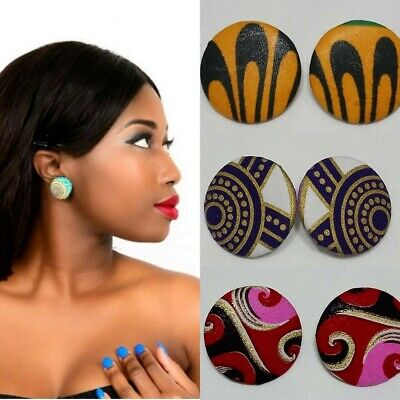 £5.99 • Buy Covered Button Earrings, Ankara/ African Print Stud Earring.More Colour Options.