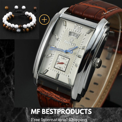 £26.26 • Buy Automatic Mechanical Mens Watches Square Dial And Leather Strap Date Wristwatch