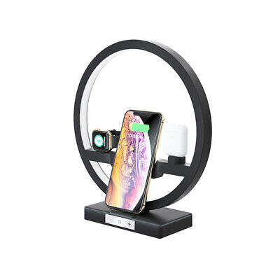 AU69.06 • Buy 4 In 1 Wireless Charger Station Desk Lamp Fast Qi Charging Dock Pad Apple LED