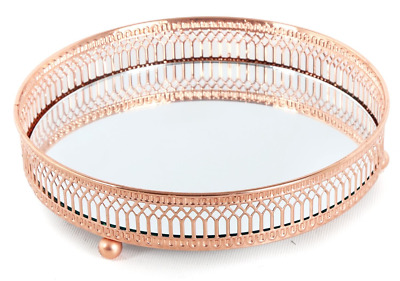 £16.75 • Buy Copper Rose Gold Mirror Glass Metal Candle Plate Perfume Display Tray 28cm