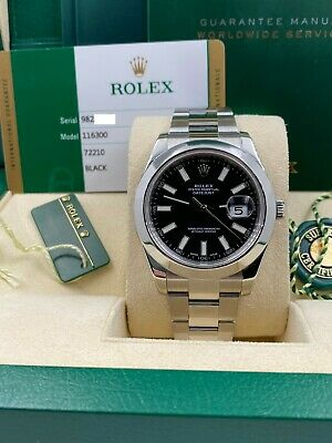 $ CDN10915.26 • Buy Rolex 116300 Datejust 41 Black Dial Smooth Bezel Stainless Steel Box Papers 2016