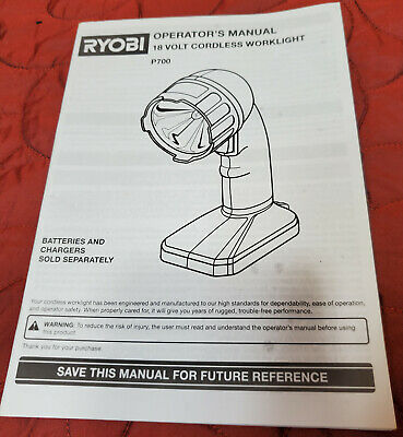 New Ryobi 18v P520 Orbital Jigsaw Saw Operators Manual Paper Original Instructio • 8.27£