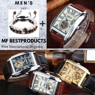 £26.11 • Buy Luxury Automatic Mechanical Men Wrist Watch Leather Band Skeleton Rectangle Dial