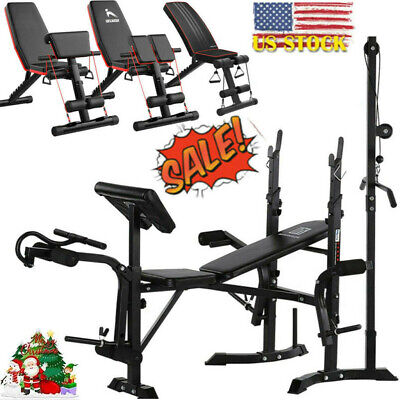 $ CDN75.98 • Buy Weight Lifting Bench Workout Squat Rack Barbell,Adjustable Decline Bench Sit Up