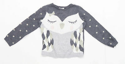 H&M Girls Spotted Grey Owl Jumper Age 4-6 Years • 5£