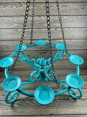 Wrought Iron Hanging 8 Candle Chandelier Candlebra Robin Egg Blue • 73.66£