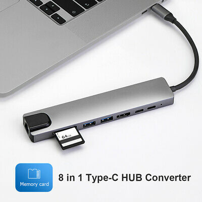 AU31.19 • Buy 8 In 1 Type-C HUB Converter 4K HDMI 2 USB3.0 USB C PD SD/TF RJ45 Adapter For PC
