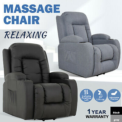 AU529.90 • Buy Electric Massage Chair 8 Point Heated Recliner Lift Sofa Chair Fabric Seating